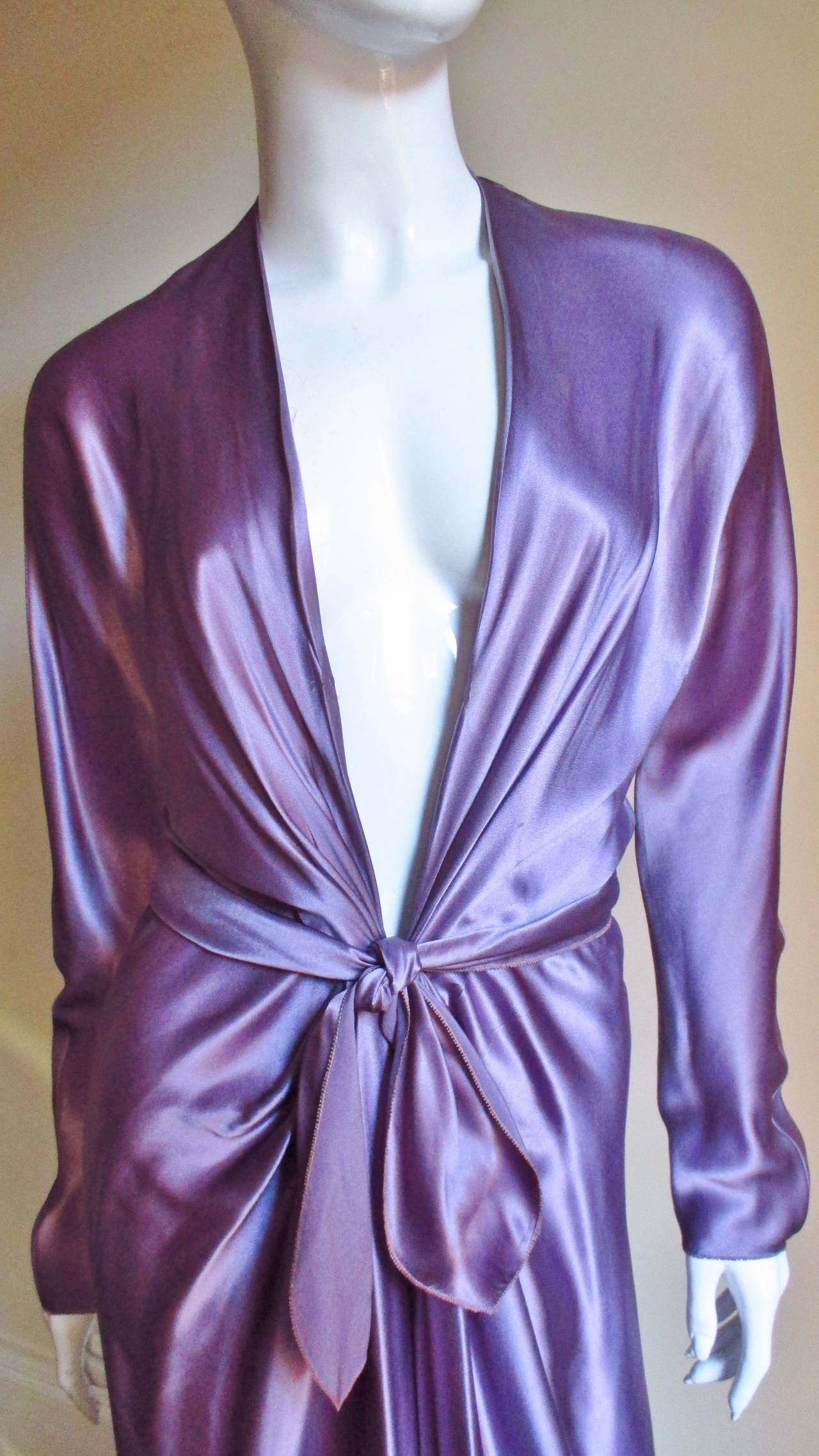 Purple Jackie Rogers Silk Plunge Dress & Wrap For Sale
