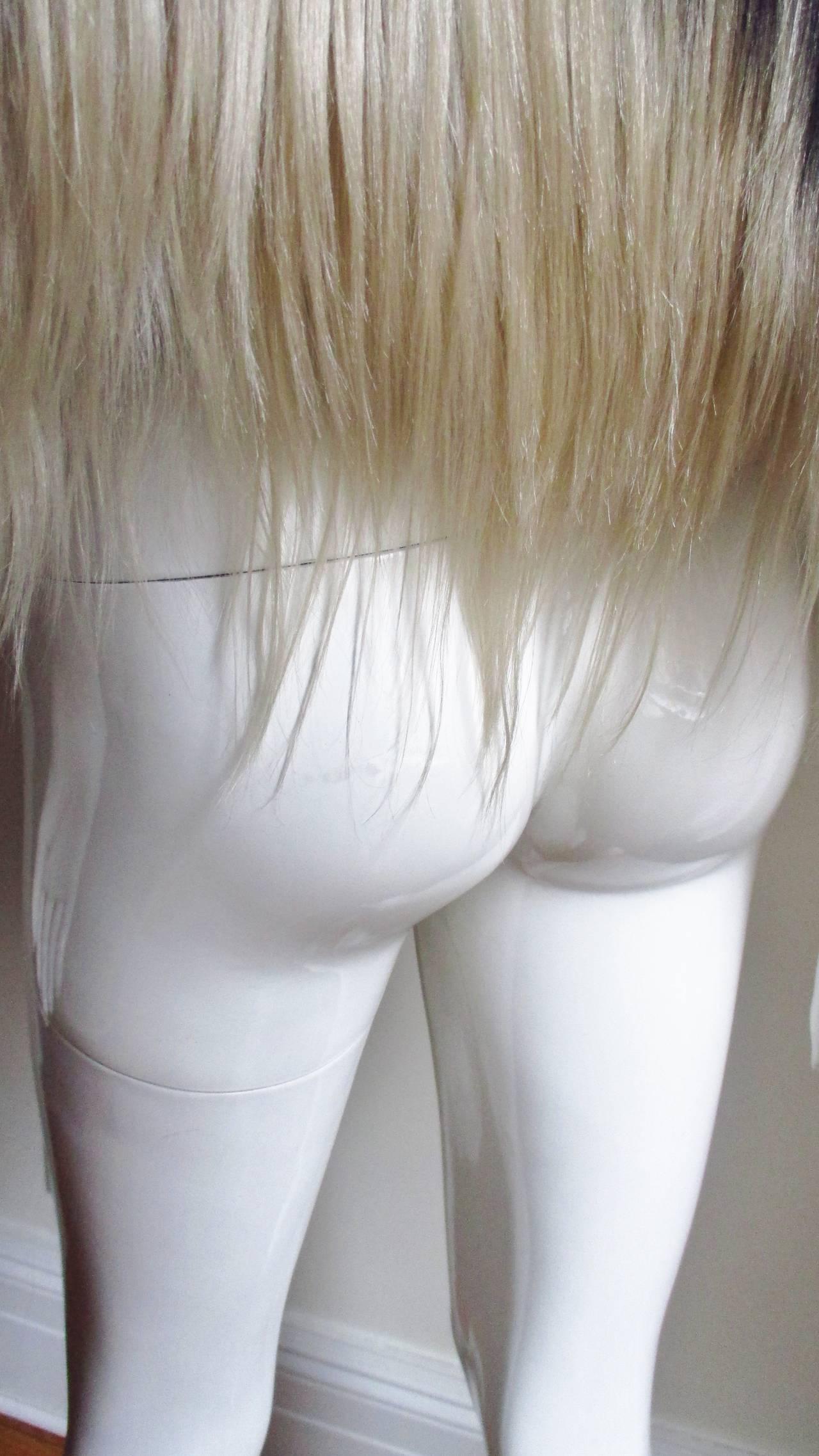Black & Blonde Long Hair Mongolian Lamb Cape 8