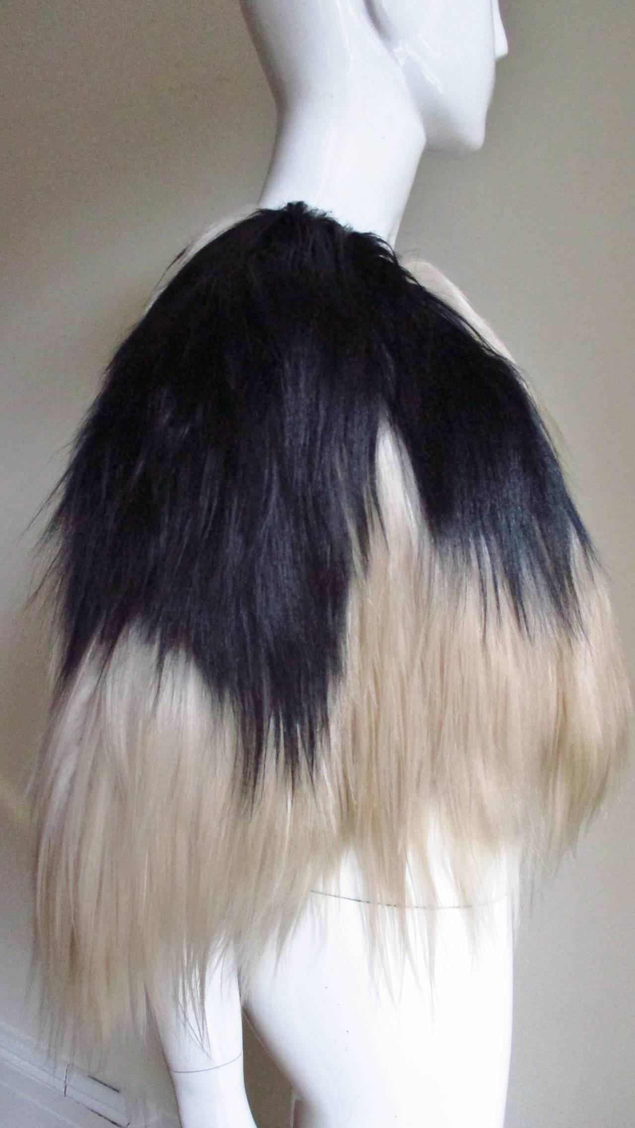 Black & Blonde Long Hair Mongolian Lamb Cape 4