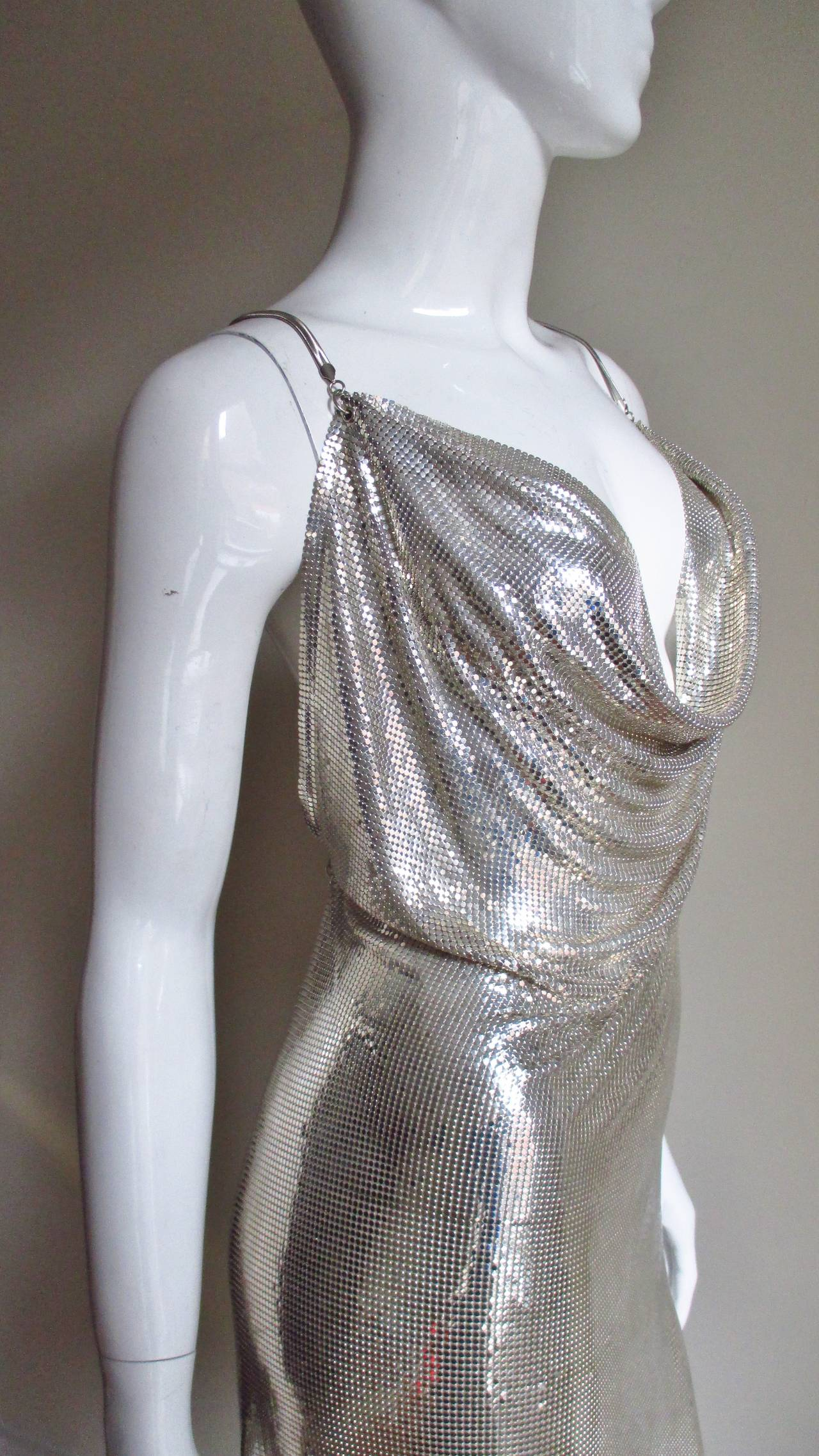 iconic vintage paco rabanne metal mesh draped dress at 1stdibs. Black Bedroom Furniture Sets. Home Design Ideas
