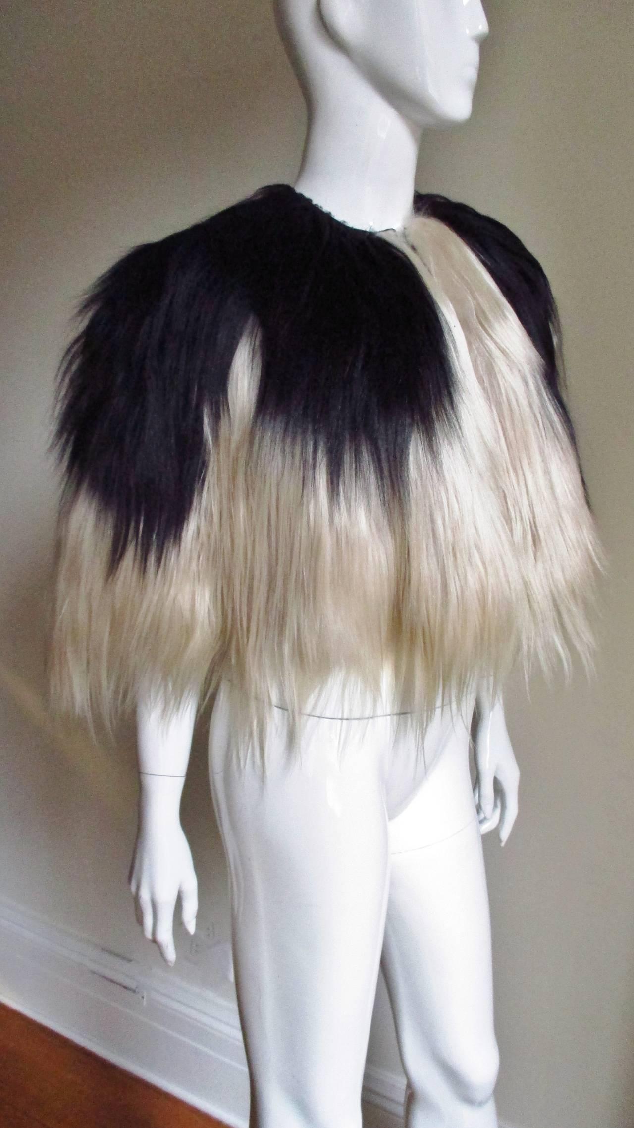 Black & Blonde Long Hair Mongolian Lamb Cape 3