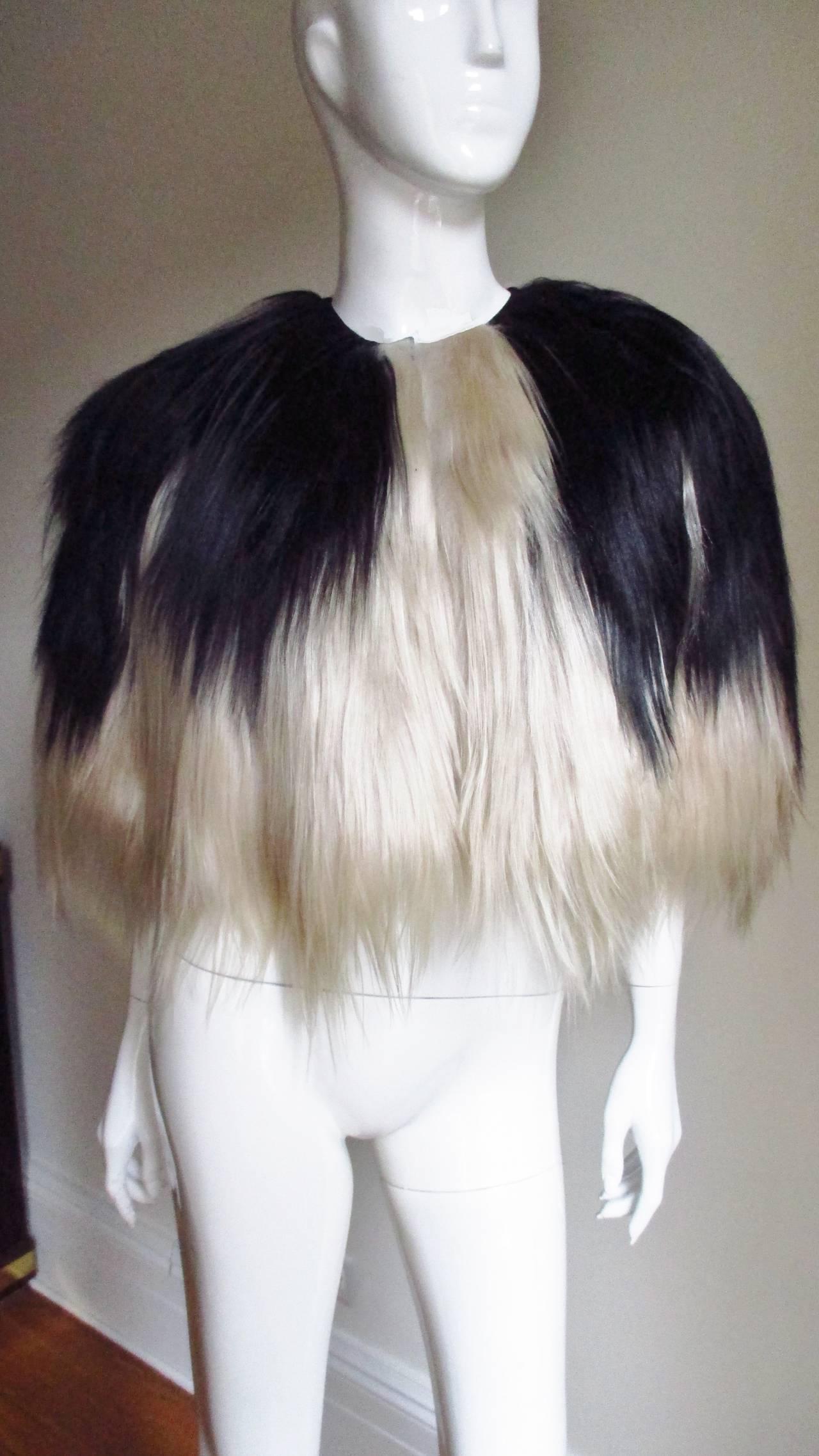 Black & Blonde Long Hair Mongolian Lamb Cape 5