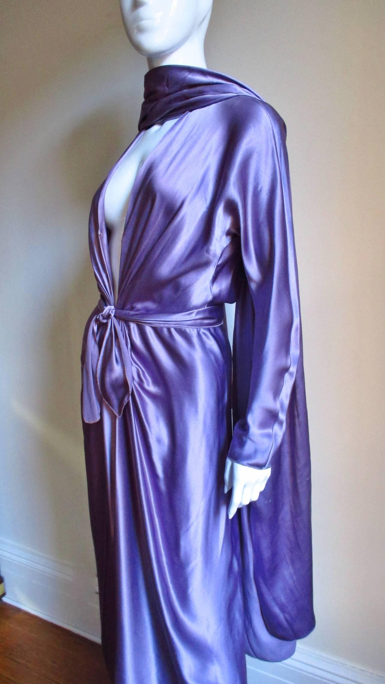 Jackie Rogers Silk Plunge Dress & Wrap For Sale 1