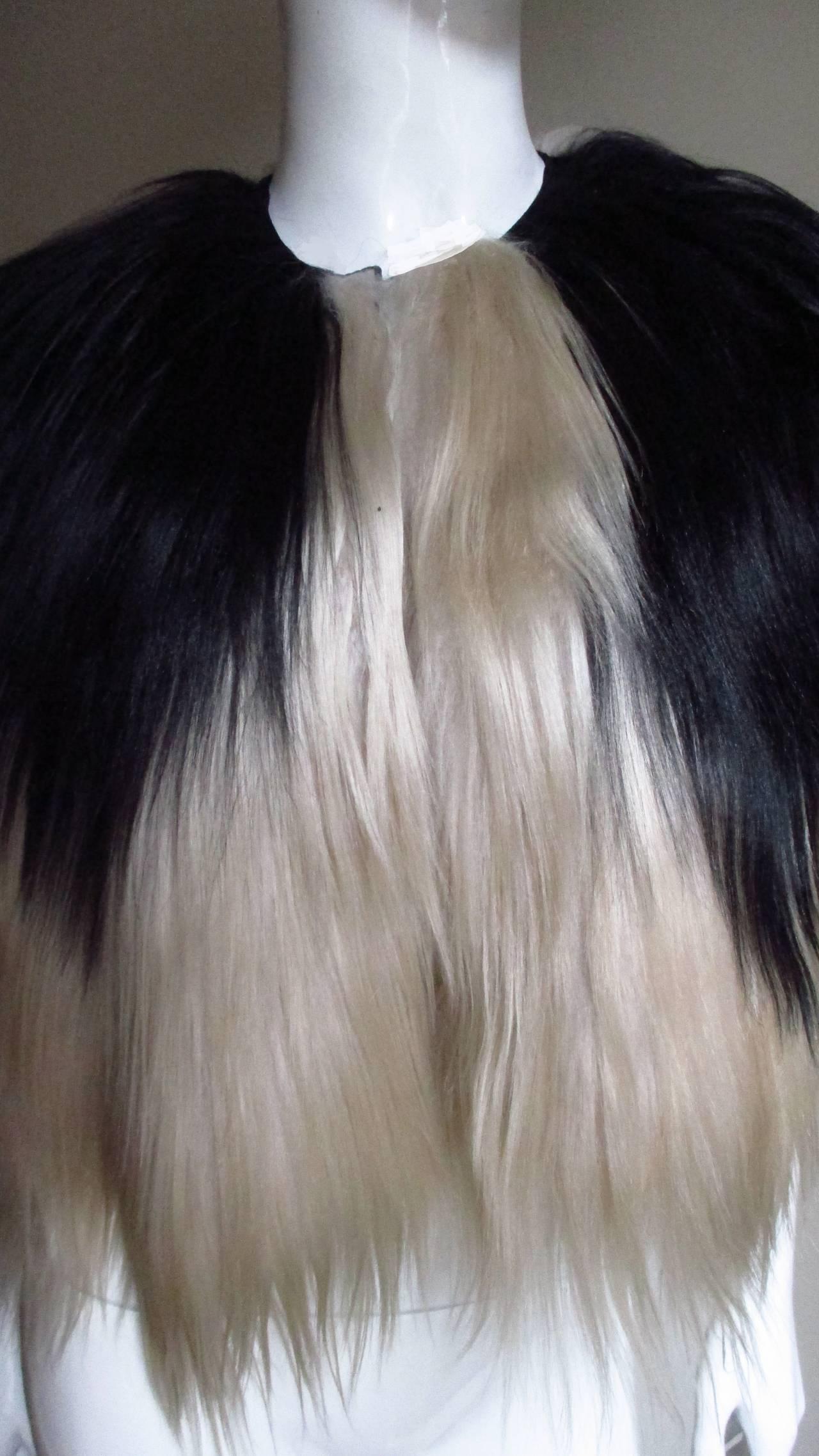 Black & Blonde Long Hair Mongolian Lamb Cape 2