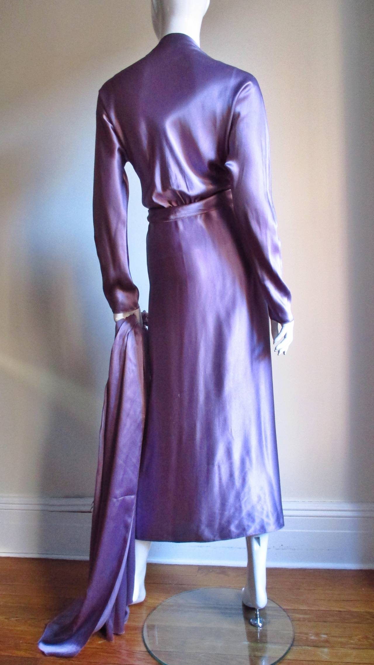Jackie Rogers Silk Plunge Dress & Wrap For Sale 3
