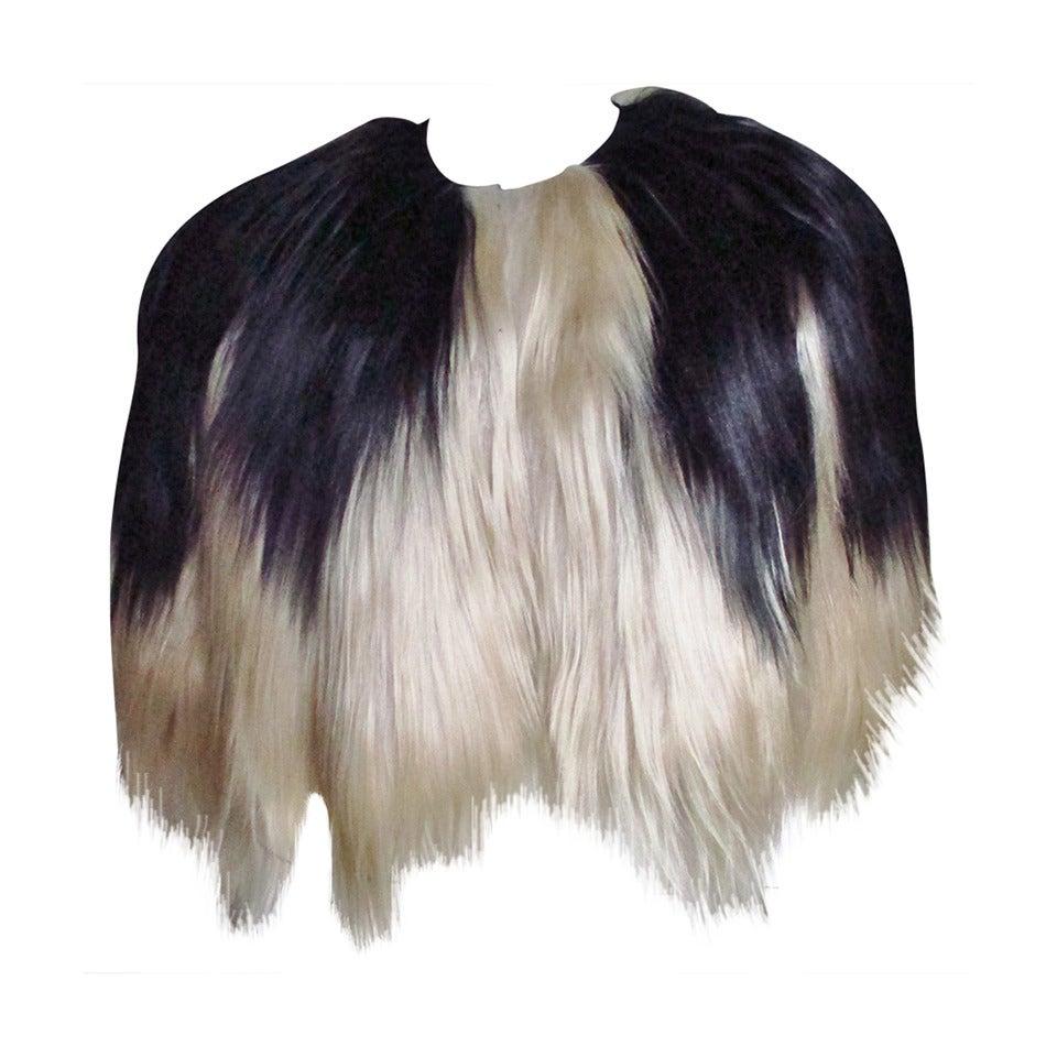 Black & Blonde Long Hair Mongolian Lamb Cape 1