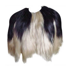 Black & Blonde Long Hair Mongolian Lamb Cape