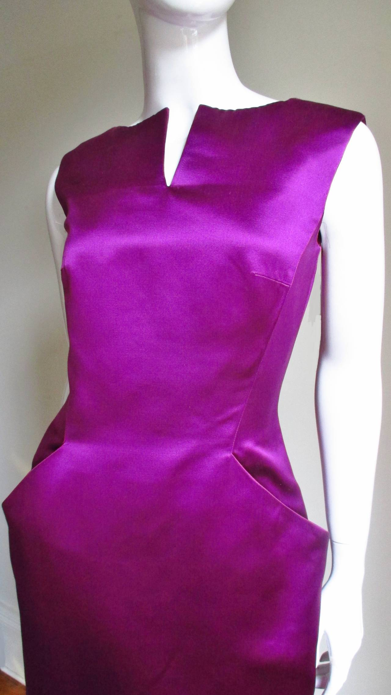Purple Alexander McQueen Silk Deep V Back Dress For Sale