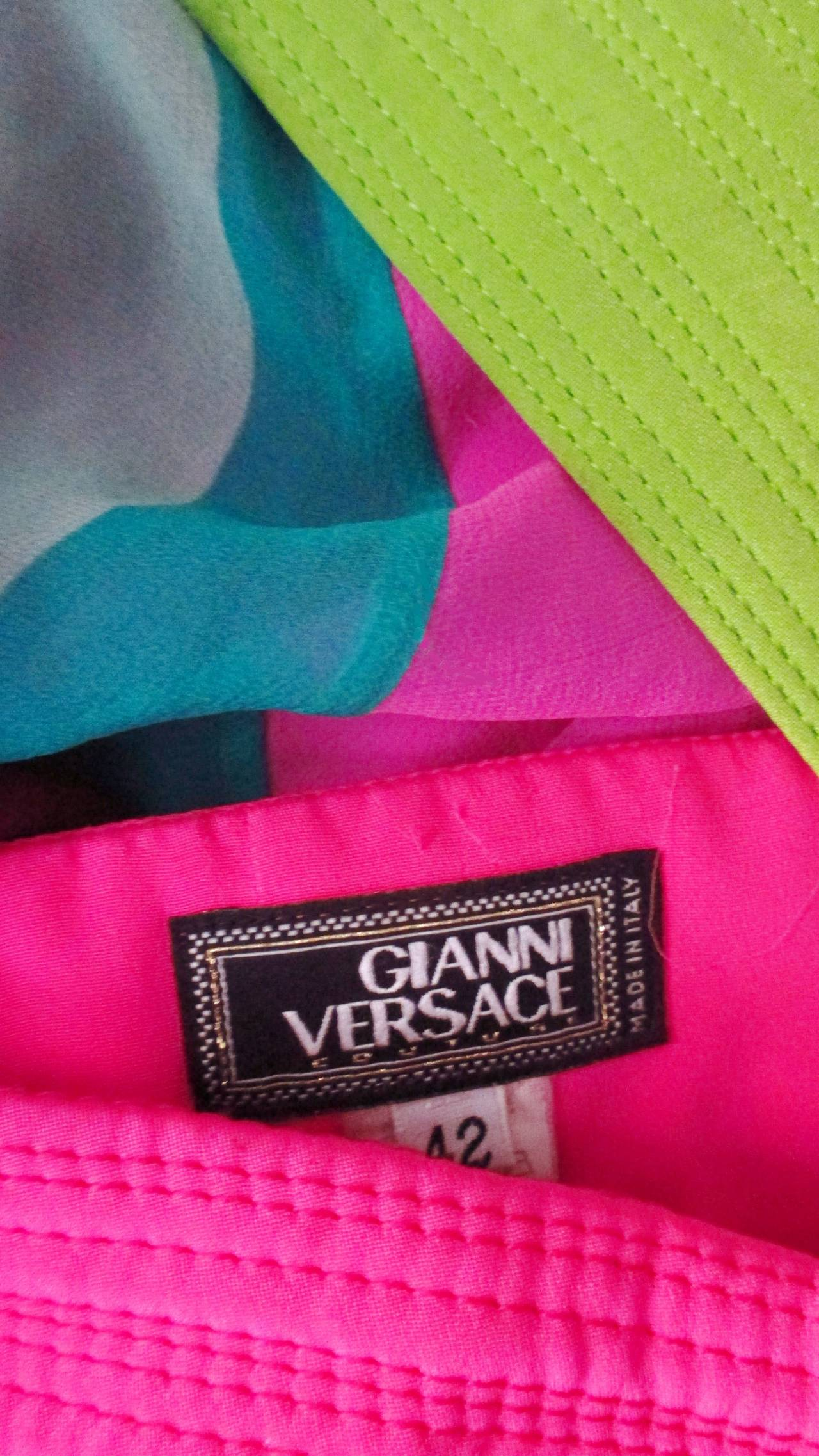 1990s Gianni Versace Striped Silk Babydoll Dress For Sale 5