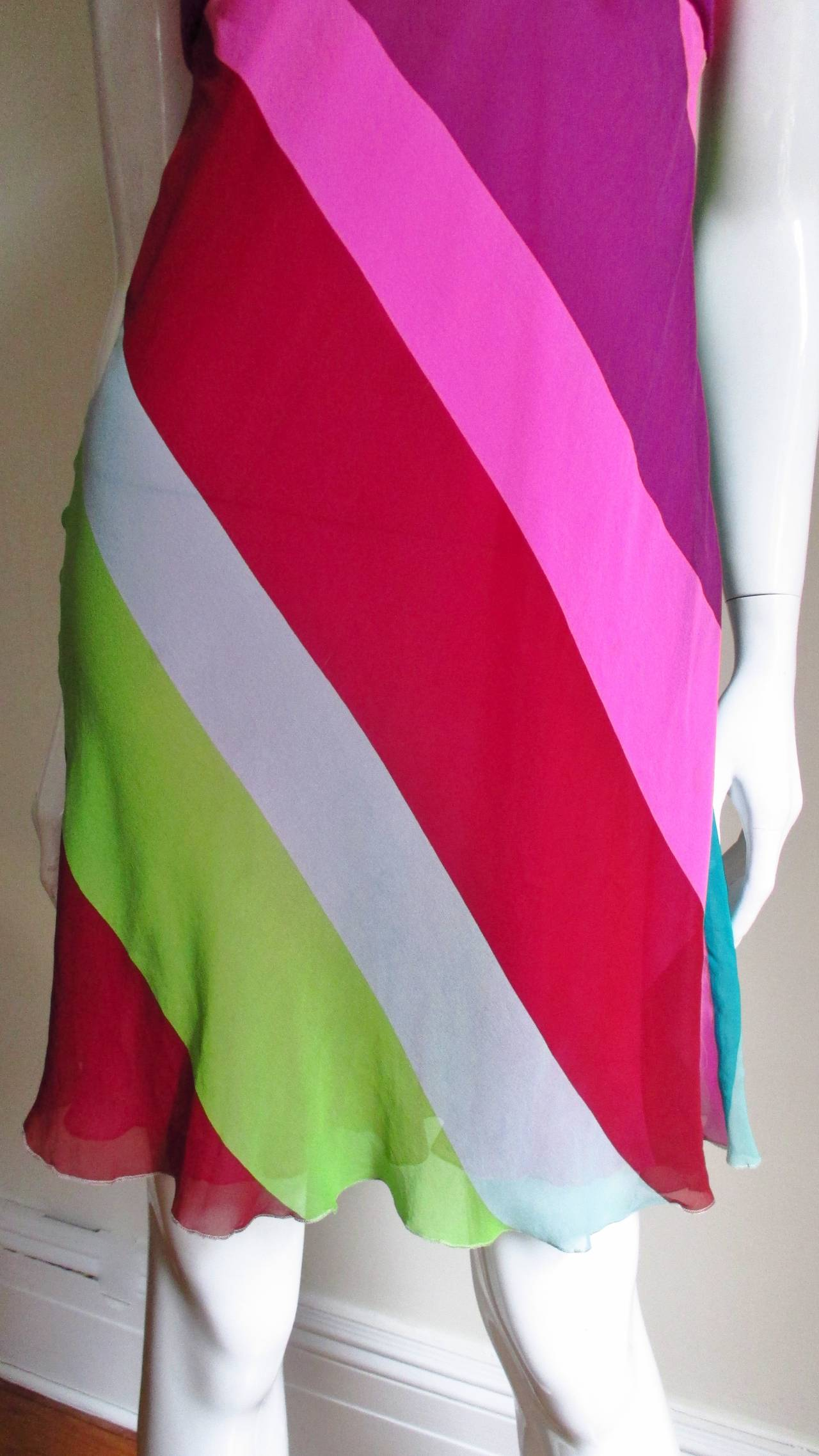 1990s Gianni Versace Striped Silk Babydoll Dress In New never worn Condition For Sale In New York, NY