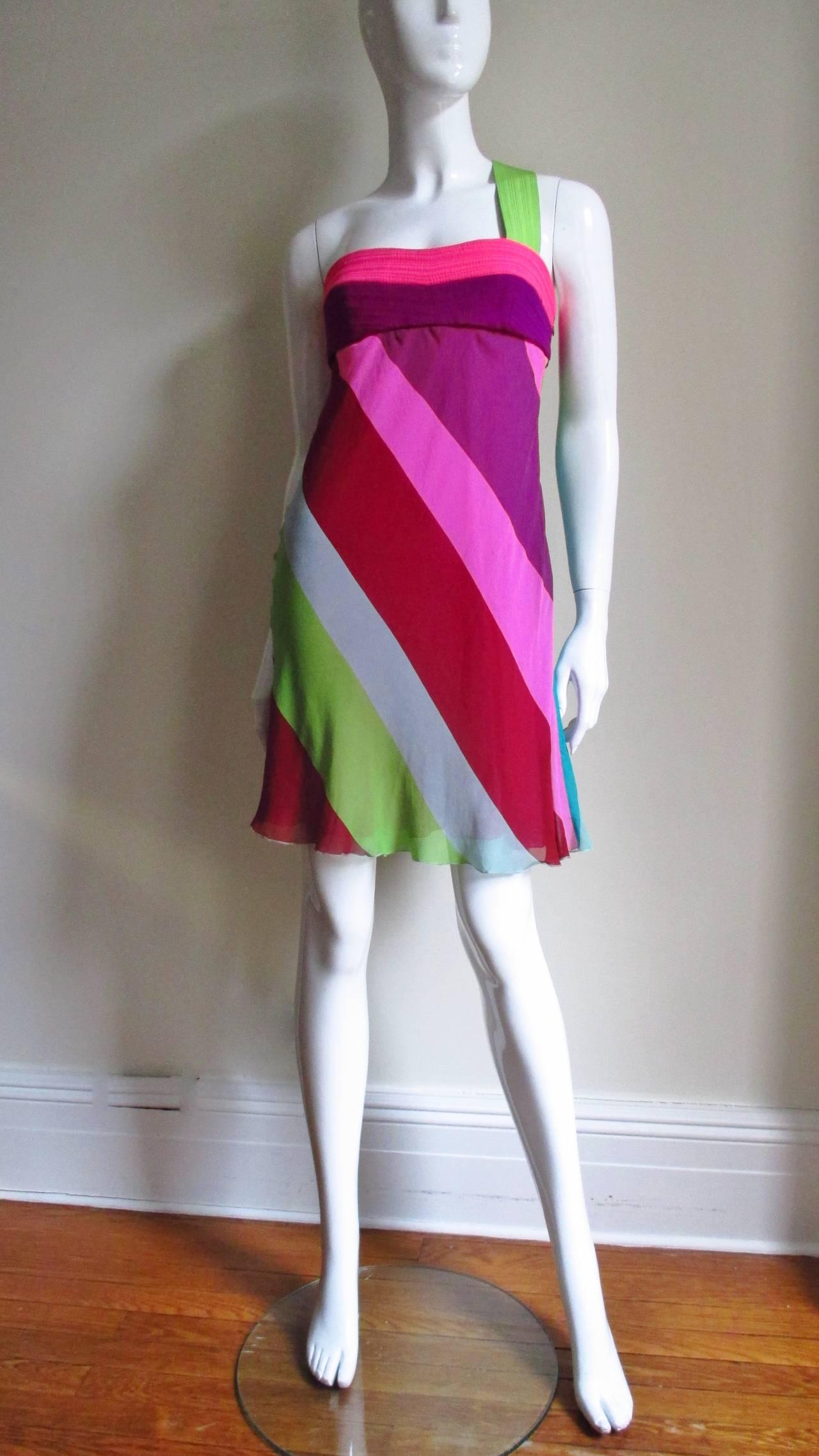 Women's 1990s Gianni Versace Striped Silk Babydoll Dress For Sale