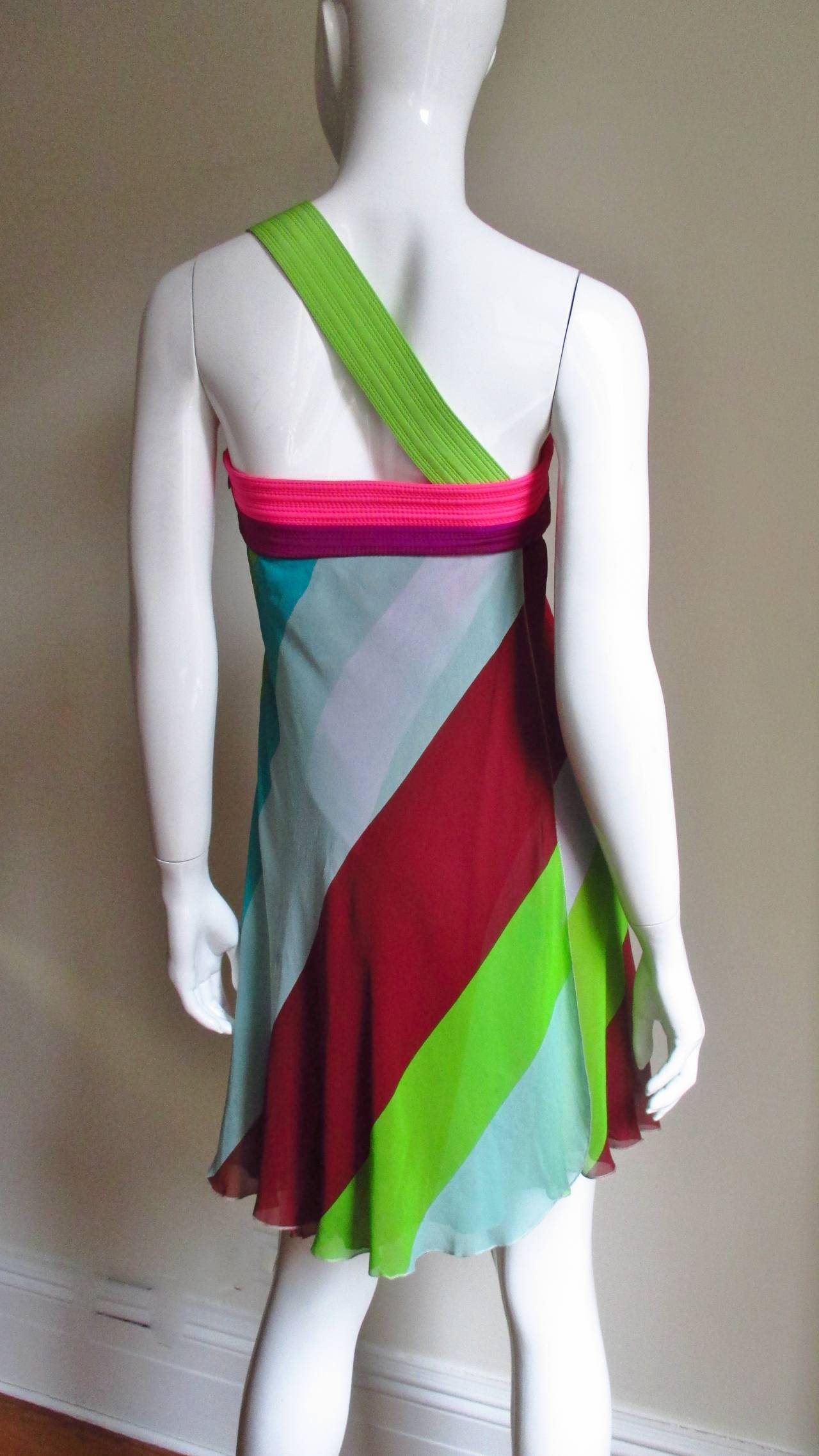 1990s Gianni Versace Striped Silk Babydoll Dress For Sale 1