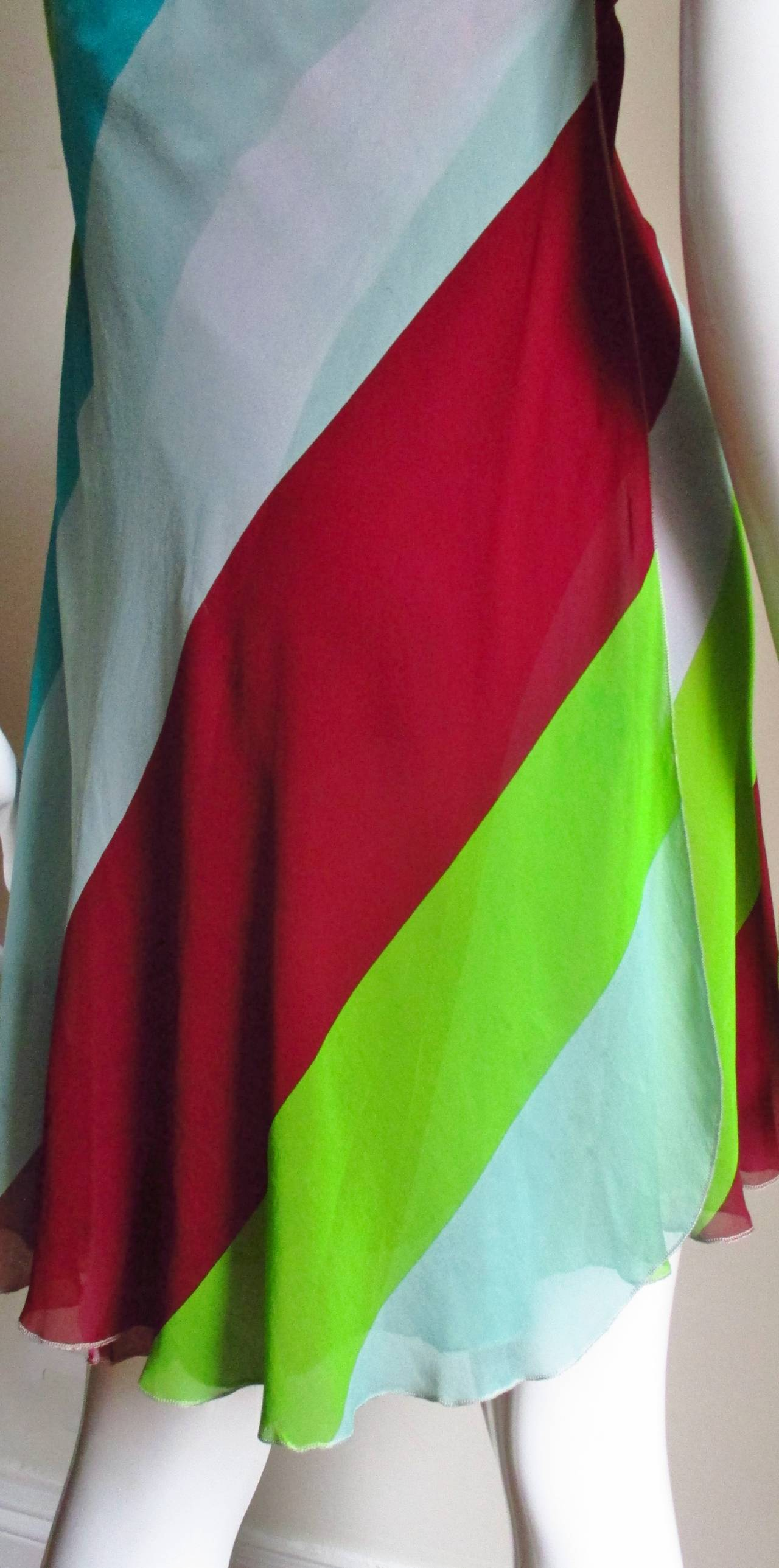 1990s Gianni Versace Striped Silk Babydoll Dress For Sale 3