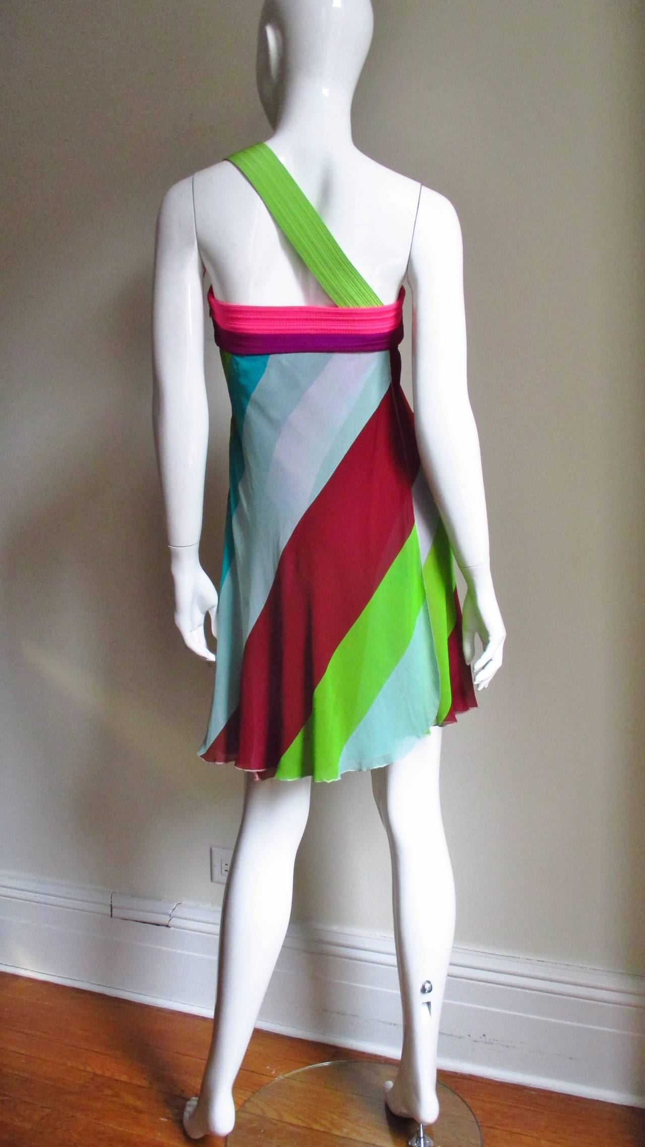1990s Gianni Versace Striped Silk Babydoll Dress For Sale 4