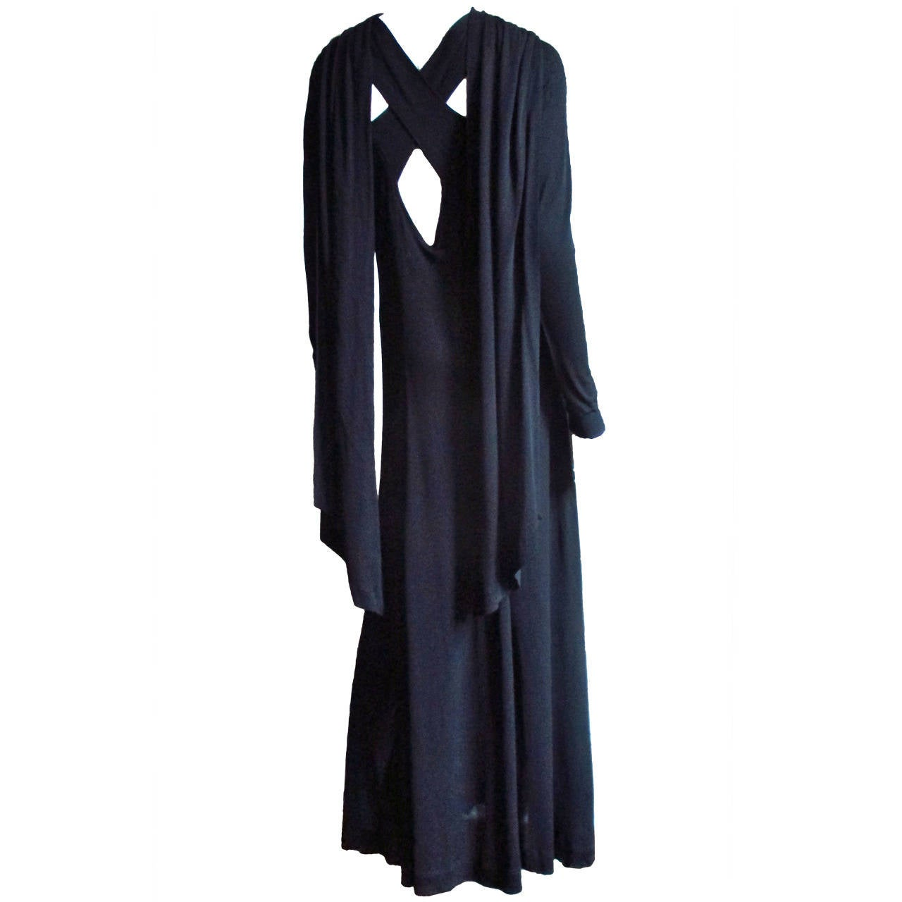 1970's Jean Muir Cutout Maxi with Back Drapes