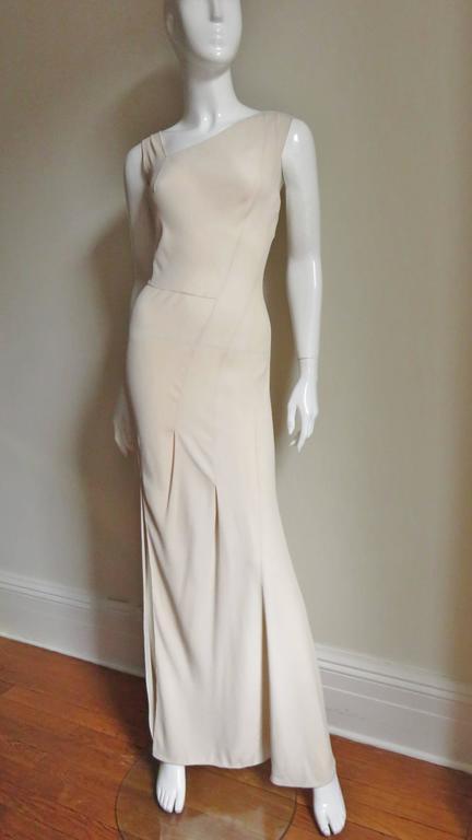 Christian Dior 1990s Blush Seam Detail Silk Gown For Sale 1