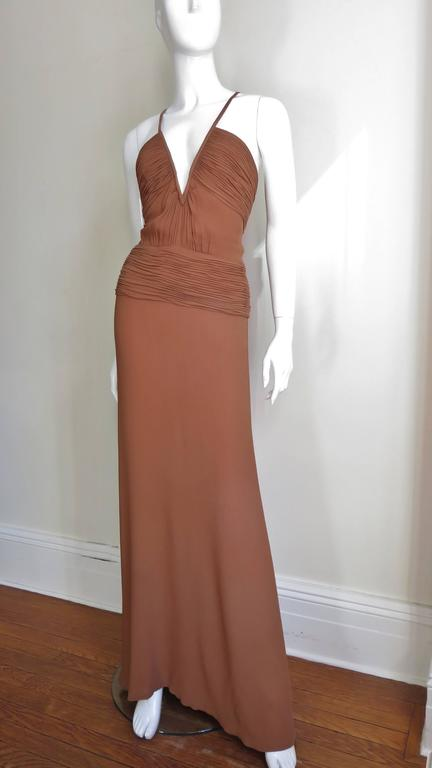 Women's 1990s Ganni Versace Vintage Plunge Ruched Gown For Sale