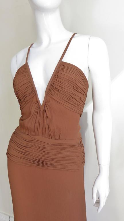 Brown 1990s Ganni Versace Vintage Plunge Ruched Gown For Sale