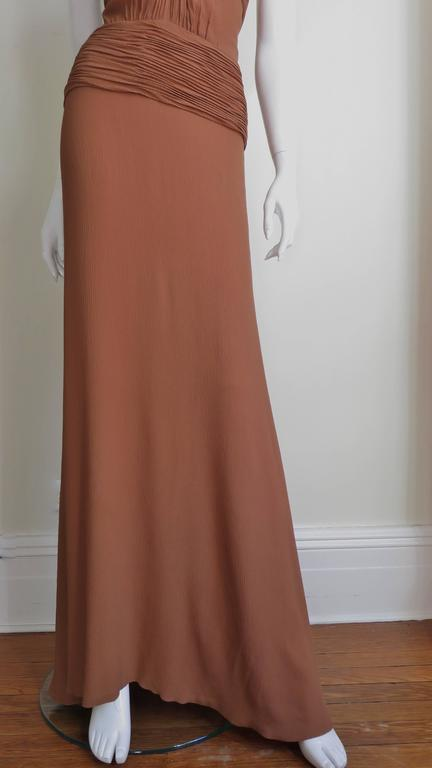 1990s Ganni Versace Vintage Plunge Ruched Gown In Excellent Condition For Sale In New York, NY