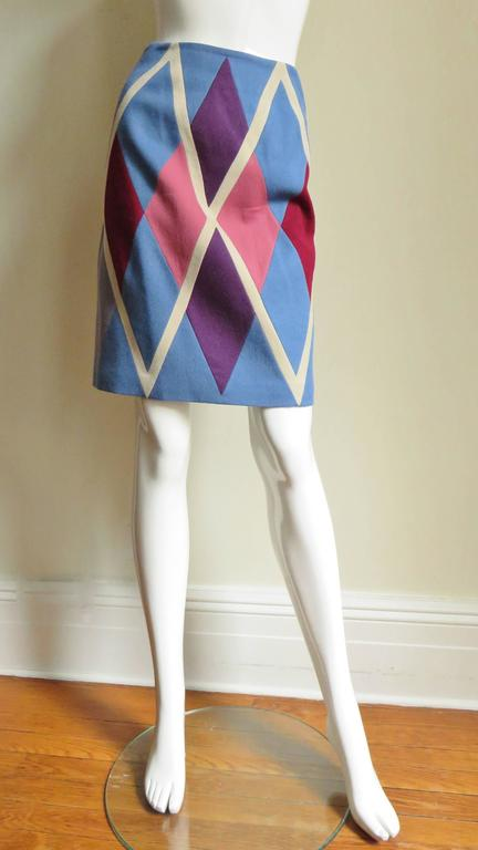 1980s Christian Francis Roth Pieced Color Block Skirt 4
