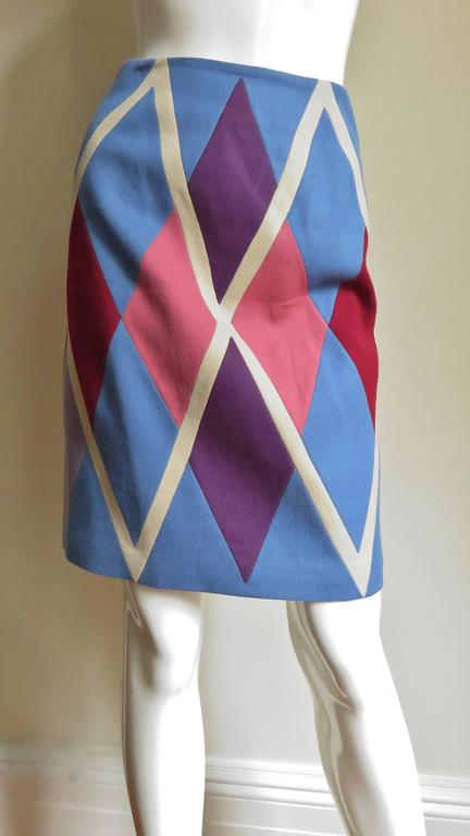 1980s Christian Francis Roth Pieced Color Block Skirt 3