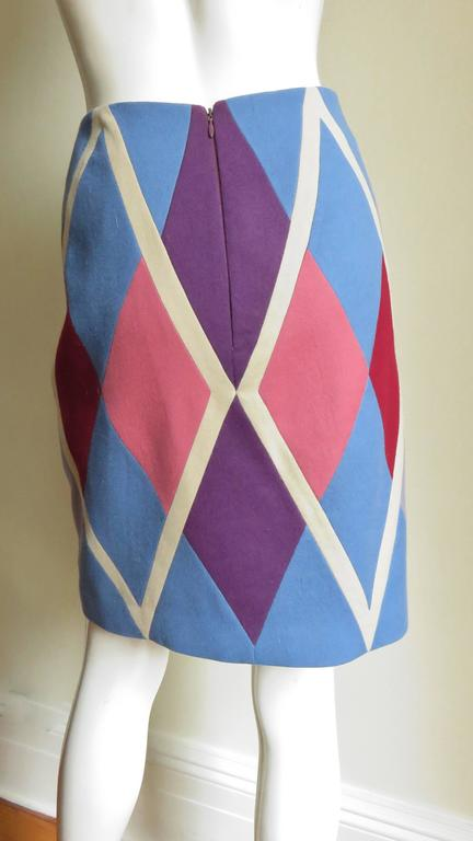 1980s Christian Francis Roth Pieced Color Block Skirt 6