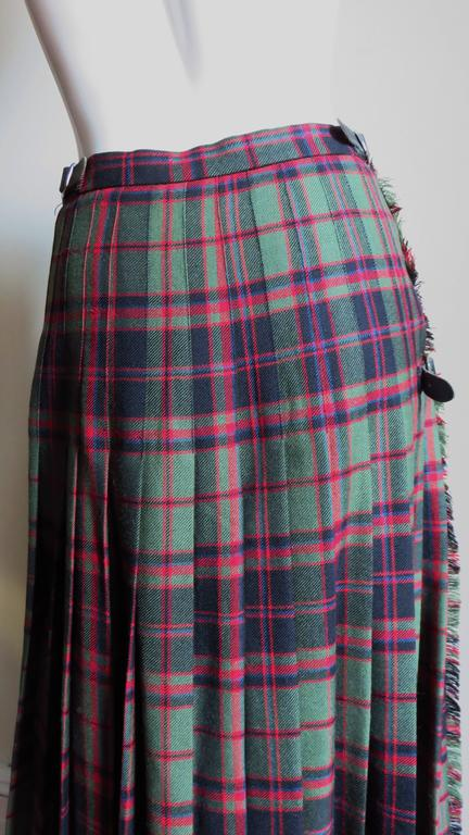 1970s Tartan Kilt Maxi Skirt 6