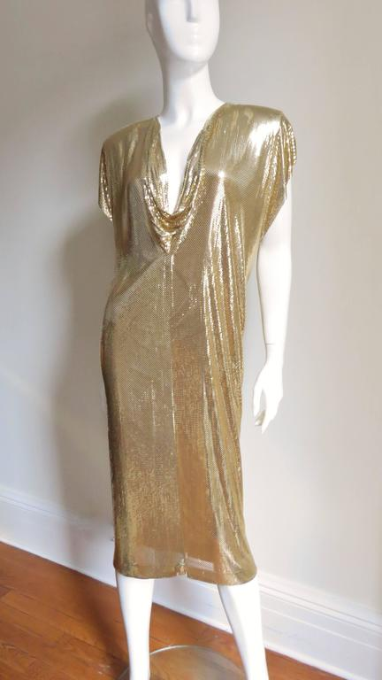 Fabulous Ferrara 1970s Metal Mesh Midi And Maxi Dress At