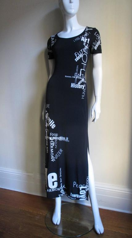 1990s Moschino Words & Phrases Printed Maxi Dress 5