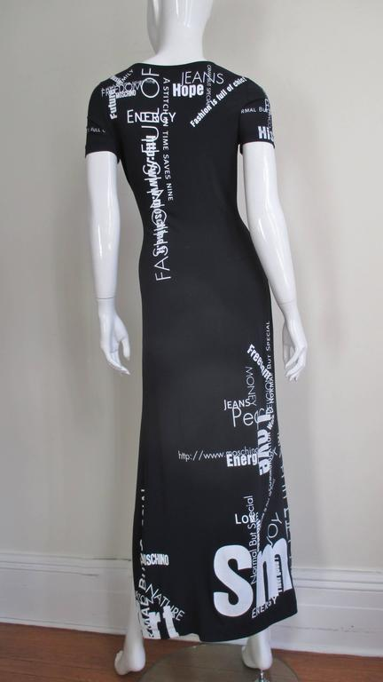 1990s Moschino Words & Phrases Printed Maxi Dress 8