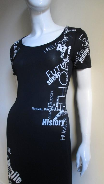 1990s Moschino Words & Phrases Printed Maxi Dress 3