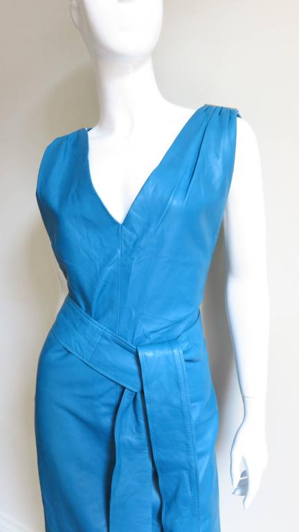 Vintage New Gianni Versace Turquoise Leather Dress 2