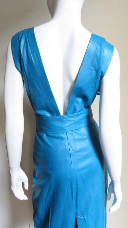 1990s New Gianni Versace Turquoise Leather Dress For Sale 2