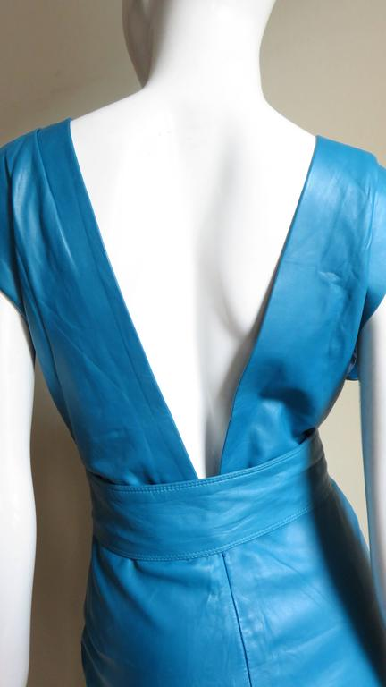 1990s New Gianni Versace Turquoise Leather Dress For Sale 3