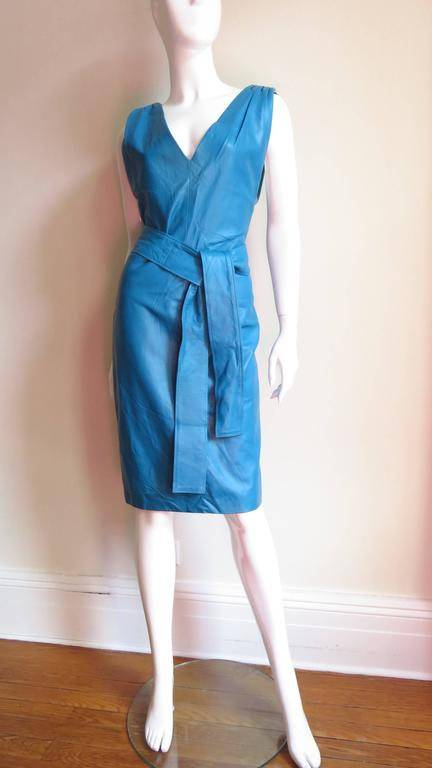 Vintage New Gianni Versace Turquoise Leather Dress 5