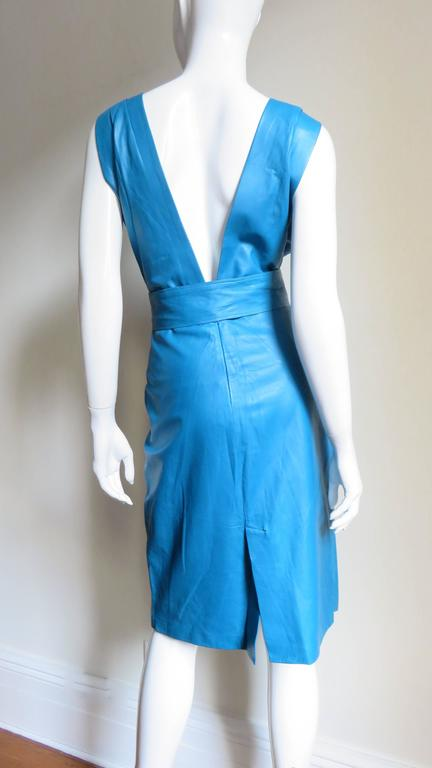 1990s New Gianni Versace Turquoise Leather Dress For Sale 1