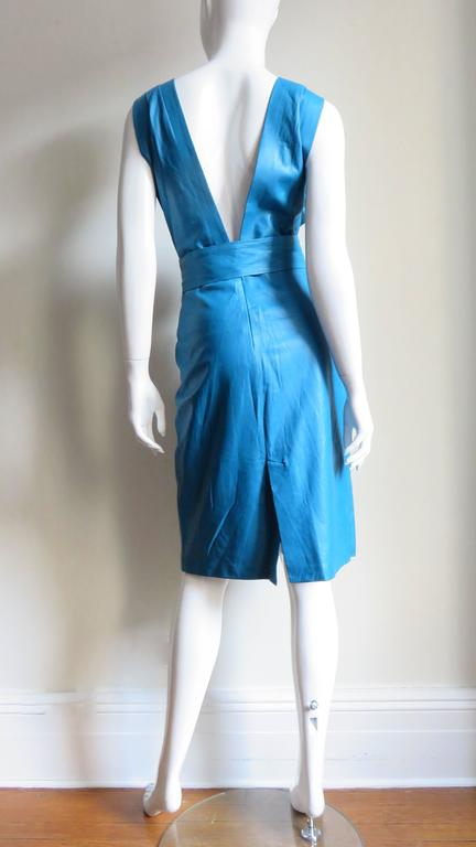 1990s New Gianni Versace Turquoise Leather Dress For Sale 4