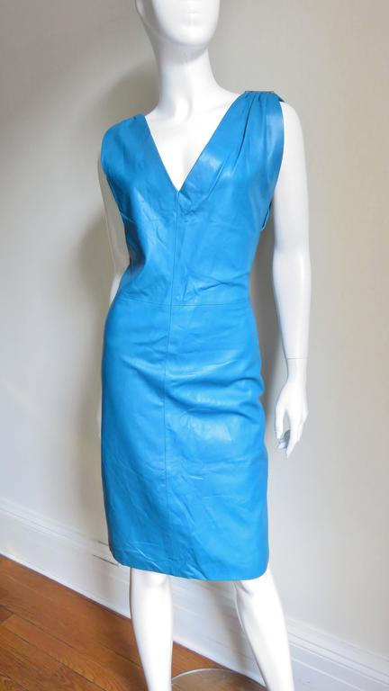 1990s New Gianni Versace Turquoise Leather Dress In Good Condition For Sale In New York, NY