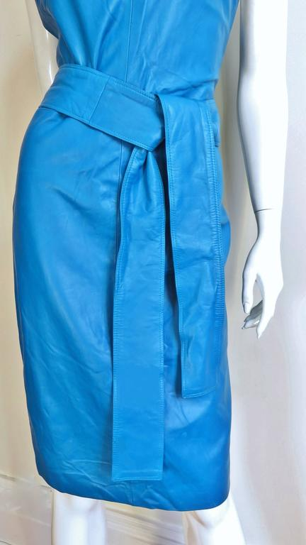 Blue 1990s New Gianni Versace Turquoise Leather Dress For Sale