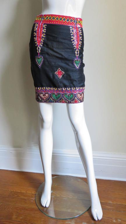 Todd Odham Beaded Embroidered Silk Skirt 4