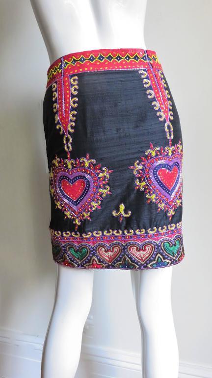 Todd Odham Beaded Embroidered Silk Skirt 6