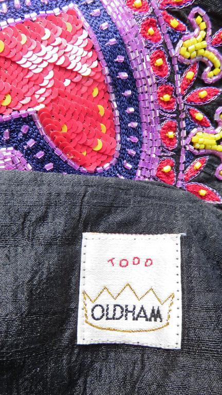 Todd Odham Beaded Embroidered Silk Skirt 9