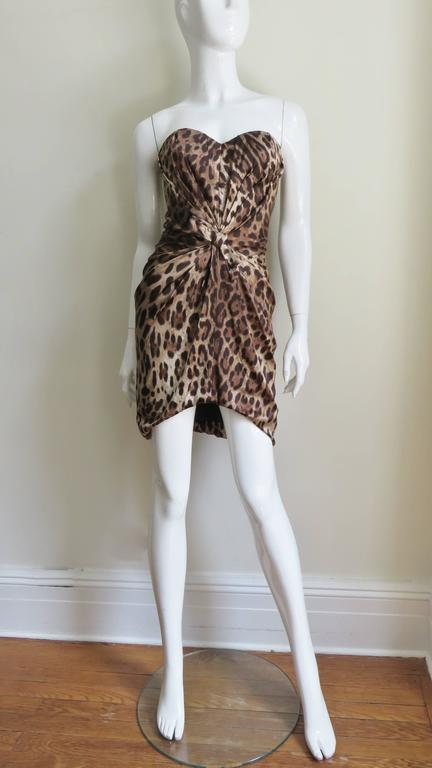 Dolce & Gabbana Silk Leopard Corset Bustier Dress For Sale 1