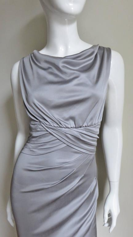 Gray Valentino Silk Jersey Bodycon Dress For Sale