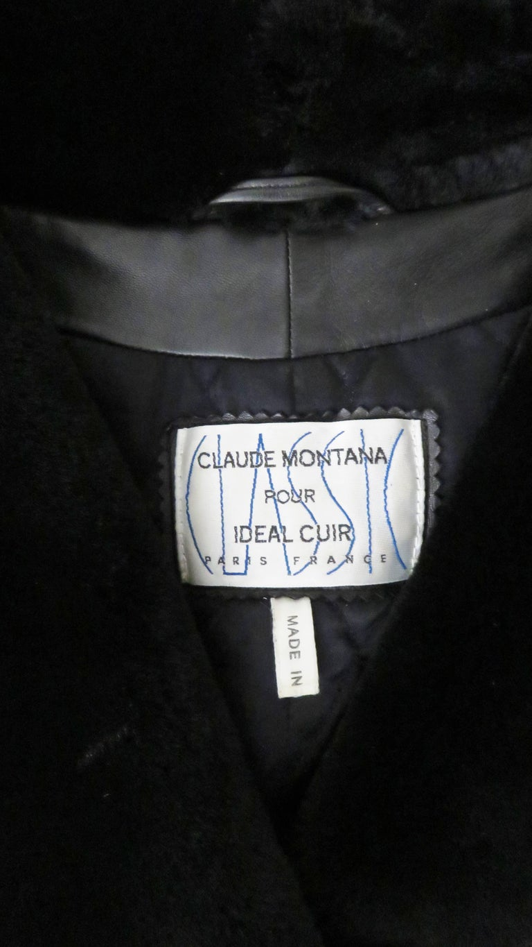 Claude Montana Vintage Mouton Collar Leather Jacket 9