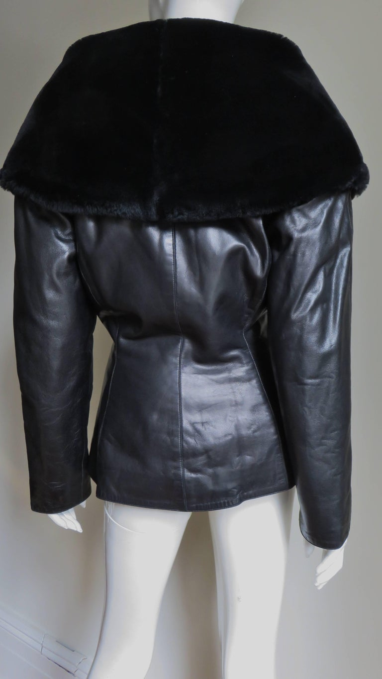 Claude Montana Vintage Mouton Collar Leather Jacket 7