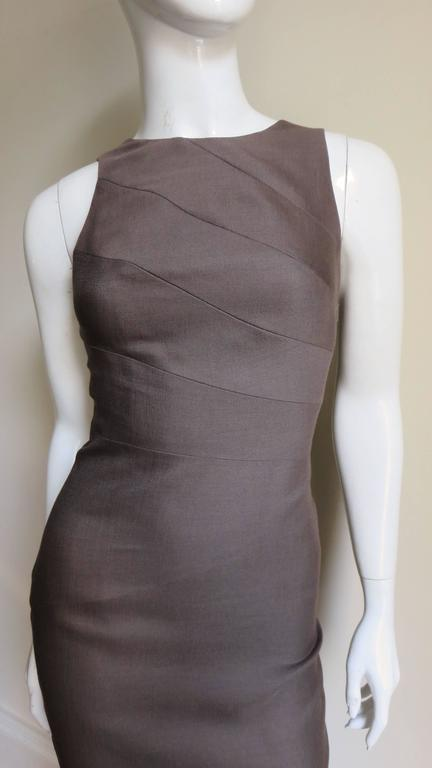 Gray Versace New Spiral Seamed Dress For Sale