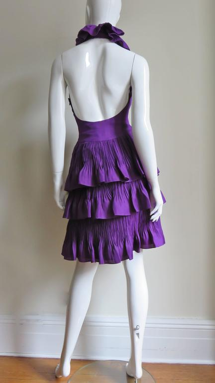 John Galliano for Christian Dior Plunge Silk Halter Dress 9