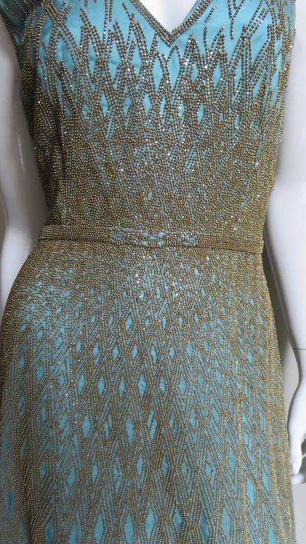 Stunning Carolina Herrera Gold Beaded Silk Couture Gown & Bolero 4