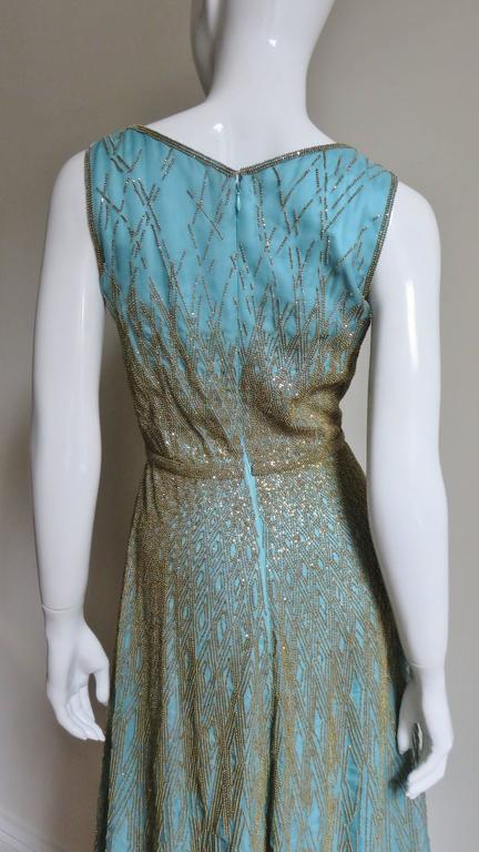 1990s Carolina Herrera Gold Beaded Silk Couture Gown & Bolero For Sale 2